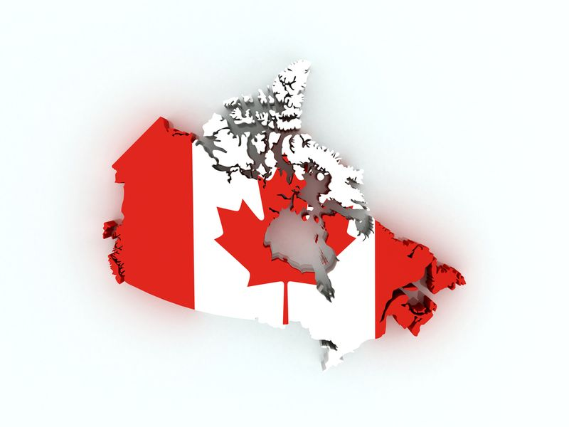 Canadian flag map with provinces and territories