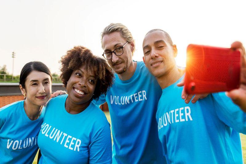 Canadian volunteers taking a selfie