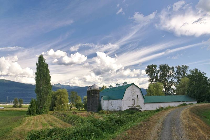 Farmhouse and barn in Abbotsford British Columbia Canada