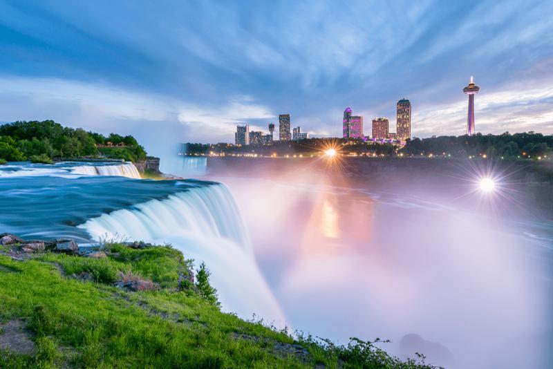 Niagara falls during sunset