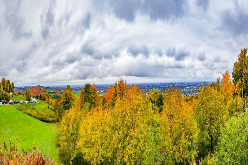 Scenic fall panorama on top of Mont Arthabaska in Victoriaville, Quebec, Canada.