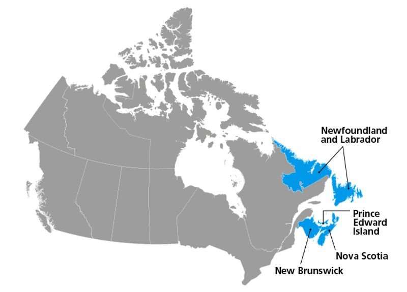 Atlantic provinces of map of Canada