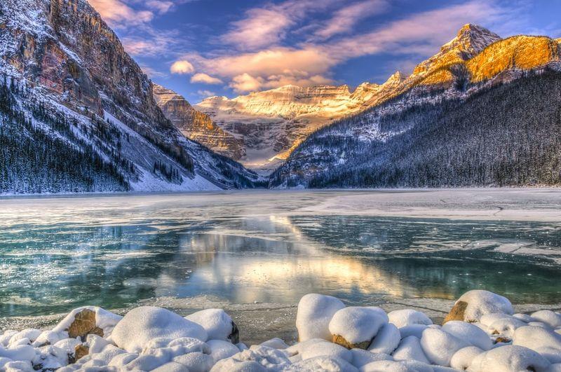 Winter sunrise over Lake Louse in Banff National Park Alberta Canada