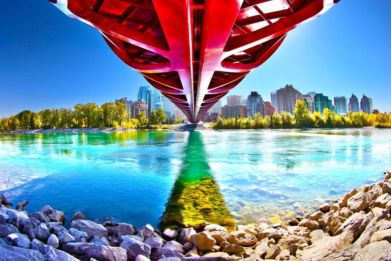 Calgary peace bridge in autumn Alberta Canada |  how to apply for a visa to Canada from the Dominican Republic