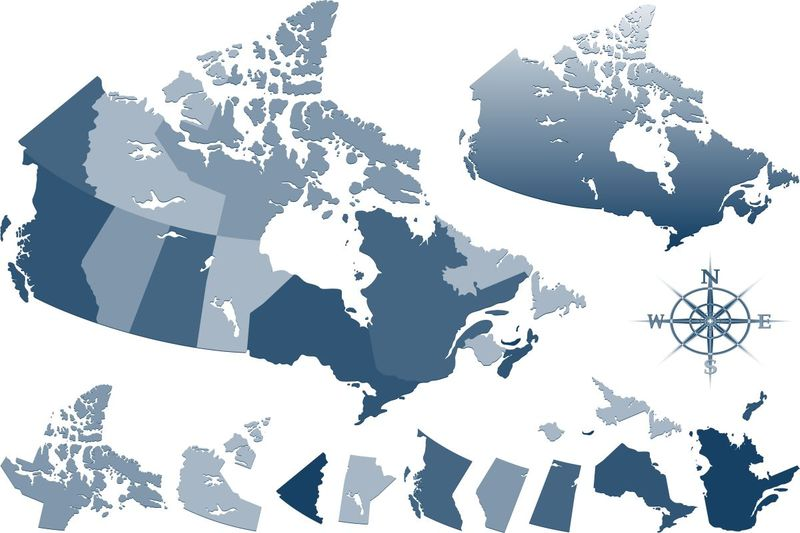 blue and grey Canadian provincial map