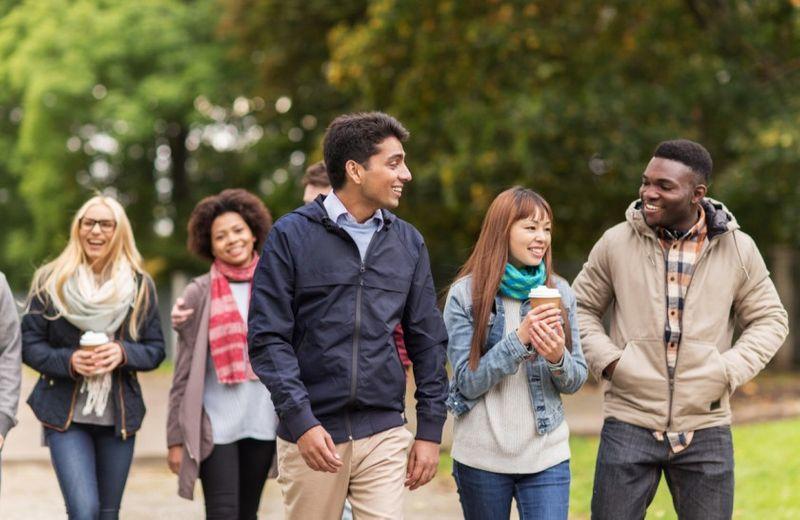 international students walking together outside