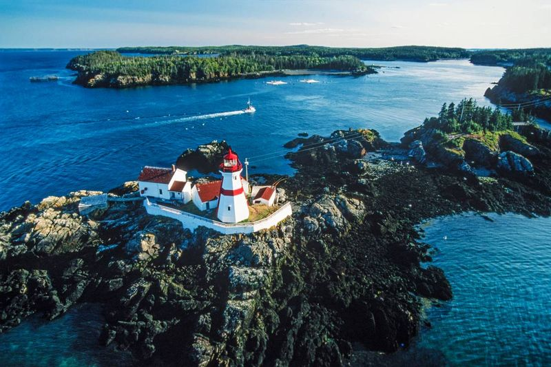 Aerial view of lighthouse in New Brunswick | Canadian permanent residency