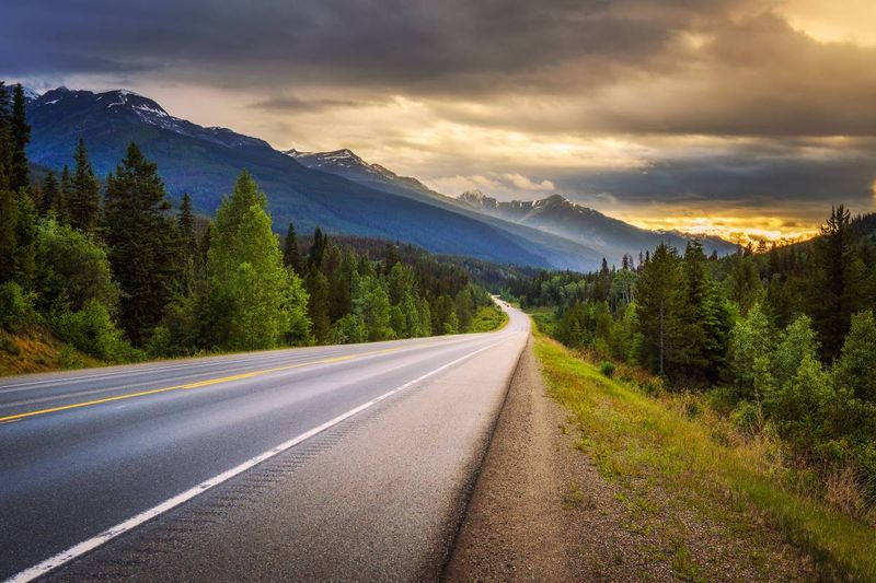 road in Banff Jasper National Park Rocky mountains Canada | truck driver jobs in Canada