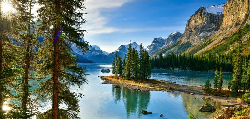 Spirit Island in Malinge Lake Jasper Park Alberta Canada