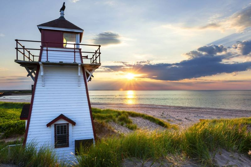 sunset at Covehead harbour lighthouse Prince Edward Island Canada | jobs in Canada