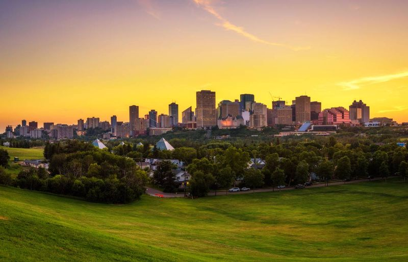 Sunset in downtown Edmonton Alberta Canada  |  how to apply for a visa to Canada from the Dominican Republic