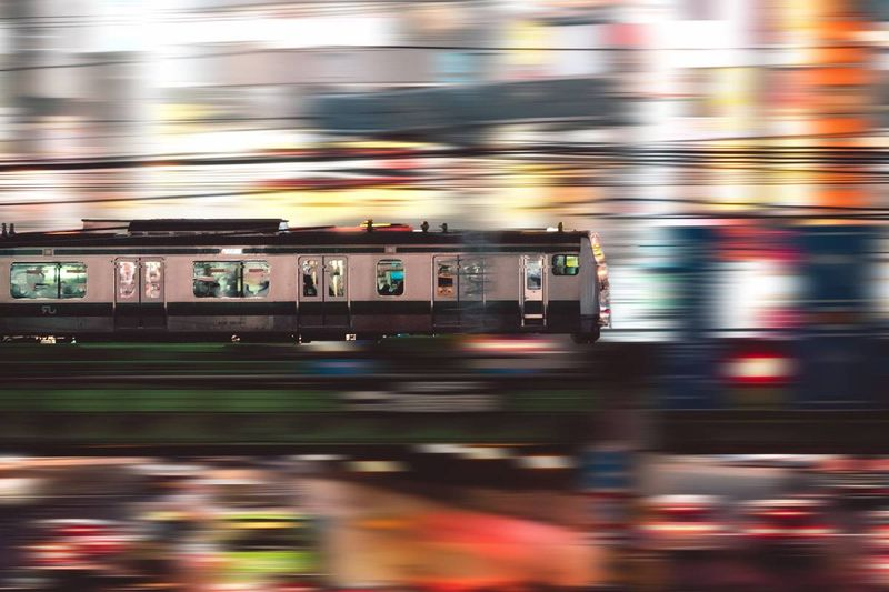 speeding train blurred colorful background